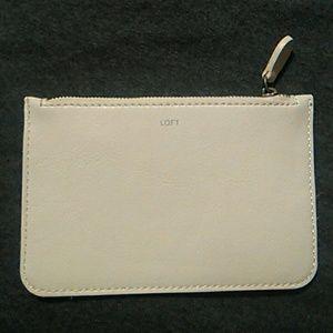 Loft white& polka dot leather pouch